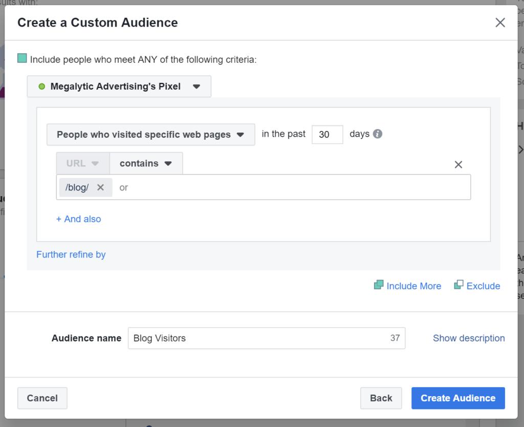 Blog Visitors Audience via Facebook Pixel