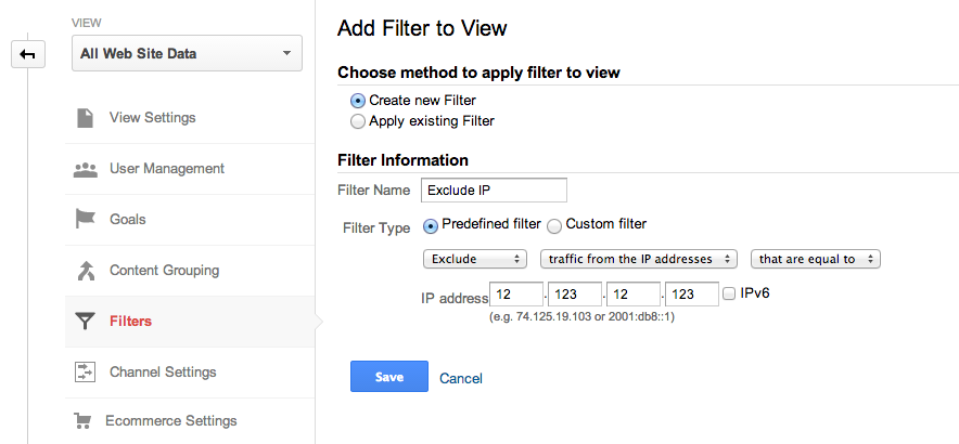 google analytics filter to exclude IP