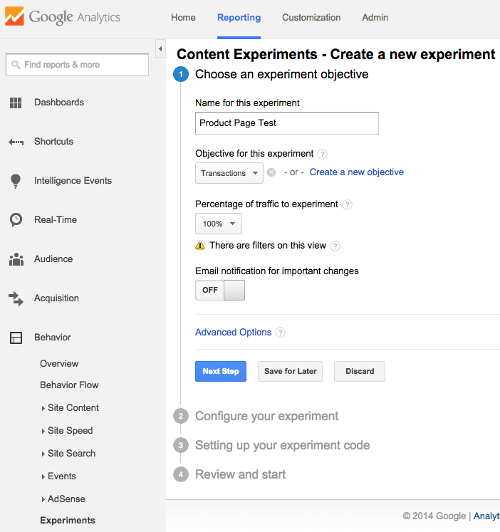 image showing an ab test experiment in google analytics