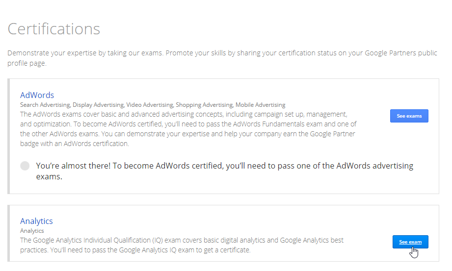 Access the Google Analytics Certification Exam