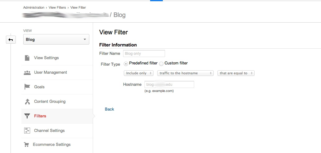 google analytics view to include blog domain