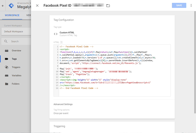 Inspecting the Facebook Pixel Tag