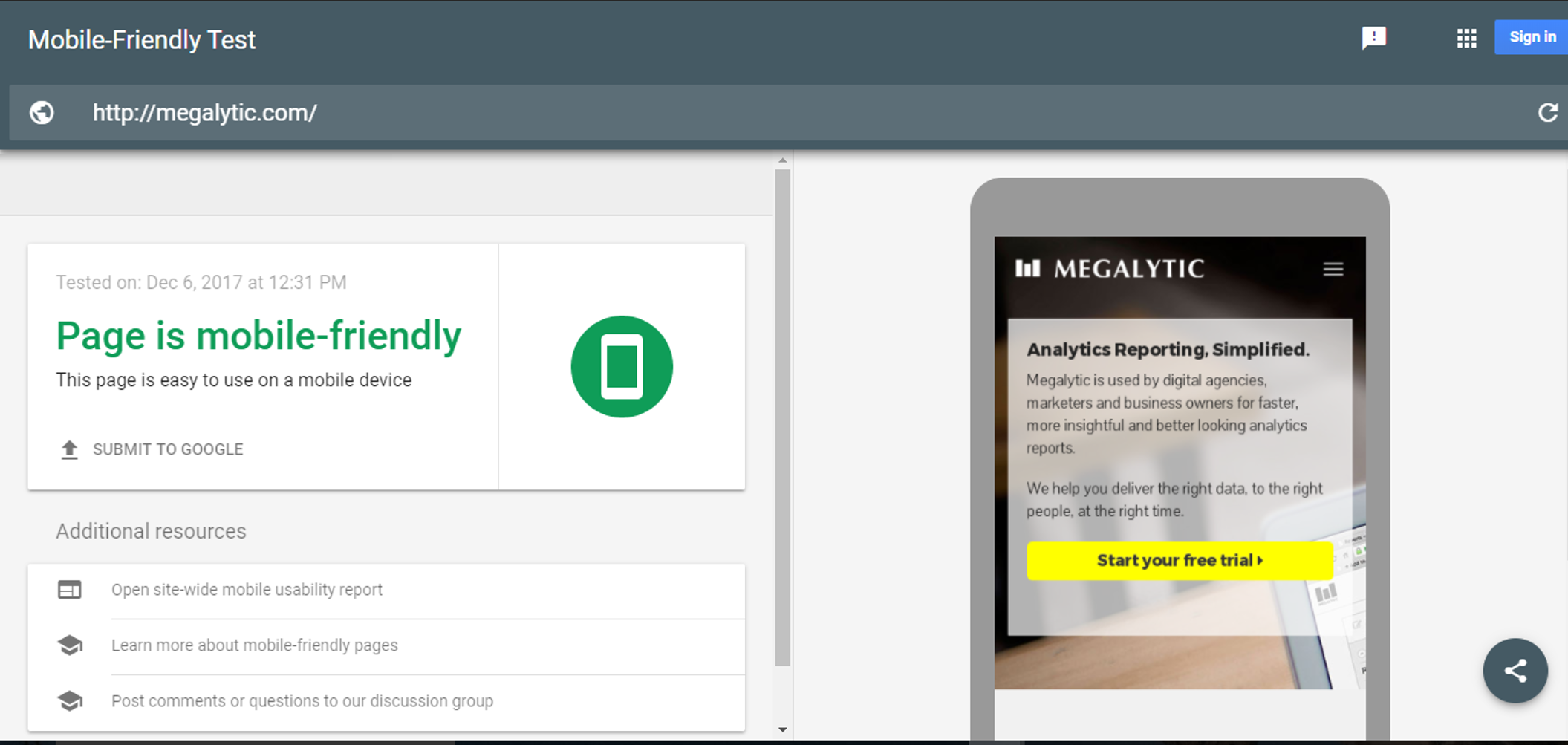 Megalytic is Mobile Friendly