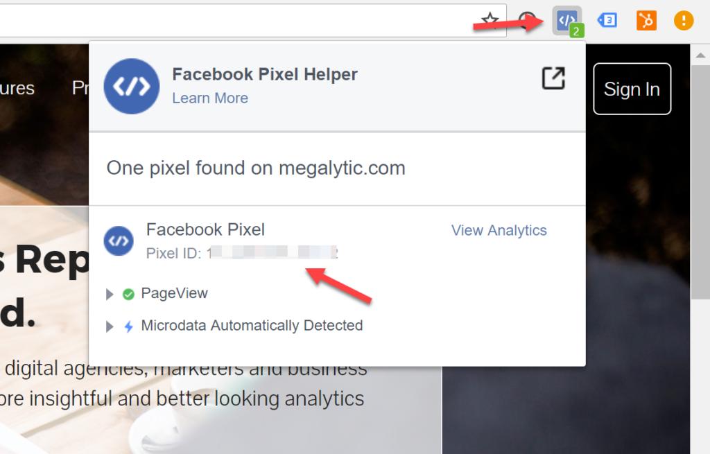 Open the Facebook Pixel Helper