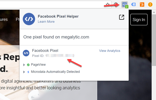 Open the Facebook Pixel Helper