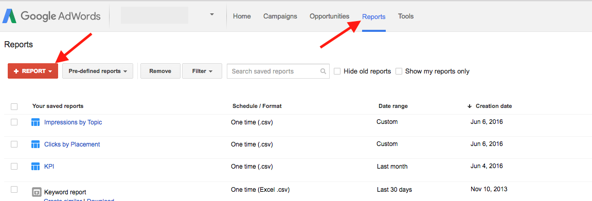 Access AdWords Reports