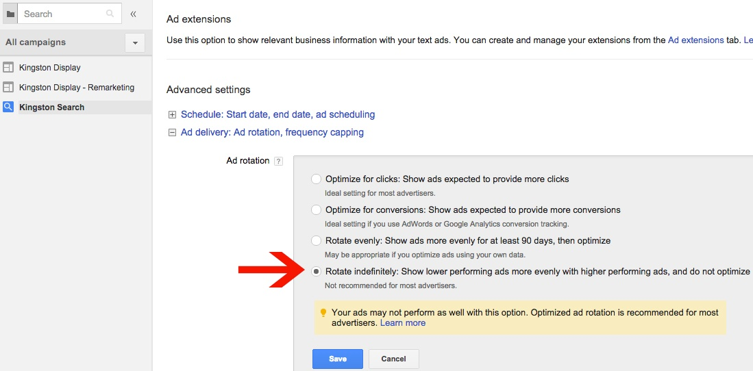 AdWords Custom Ad Rotation