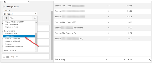 Add the Conversions Column to the Bing Widget