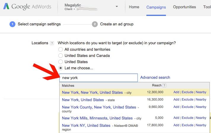 AdWords Add a Geo Targeting Location
