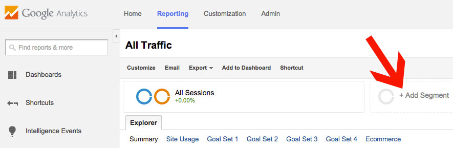 Google Analytics Adding a Segment