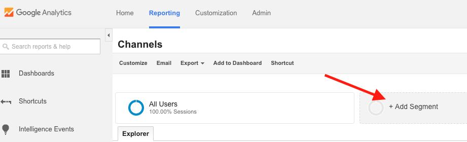 Adding a Segment in Google Analytics