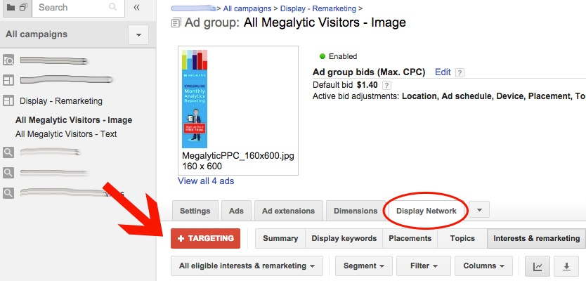 AdWords Remarketing Targetting
