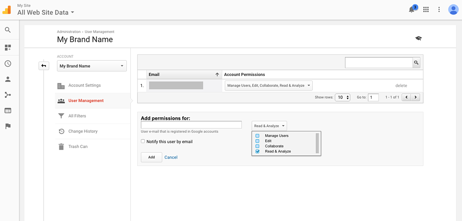 Adding a Google Analytics User