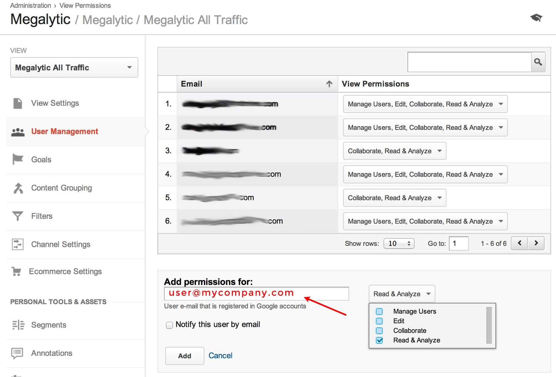 google analytics add user to account
