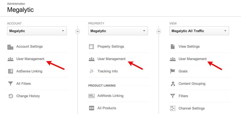 google analytics admin user management