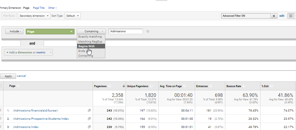Google Analytics Advanced Filter for Admissions Content