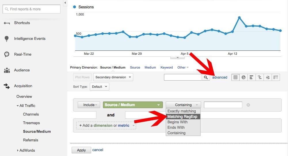 Google Analytics Advanced Search