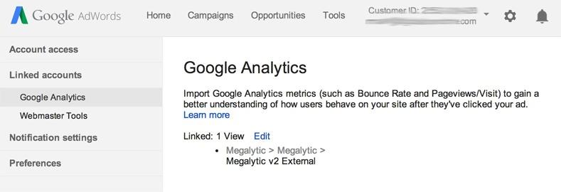 linking google analytics and adwords accounts