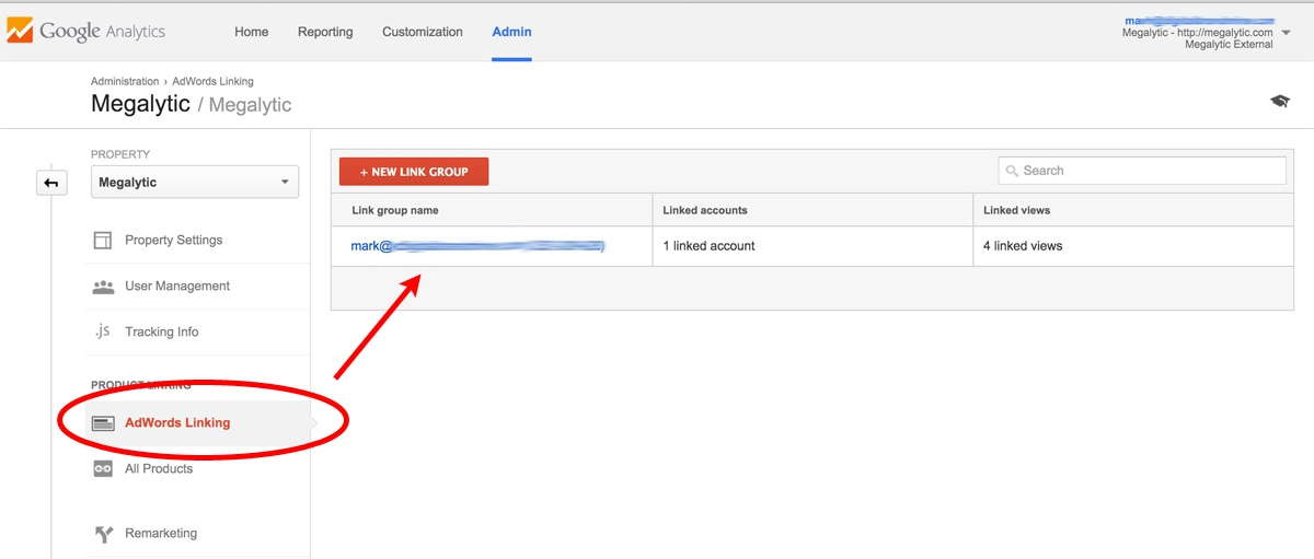 image showing linked adwords and google analytics accounts