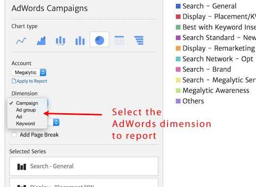 Megalytic Feature for Selecting AdWords Campaign Dimension for Reporting