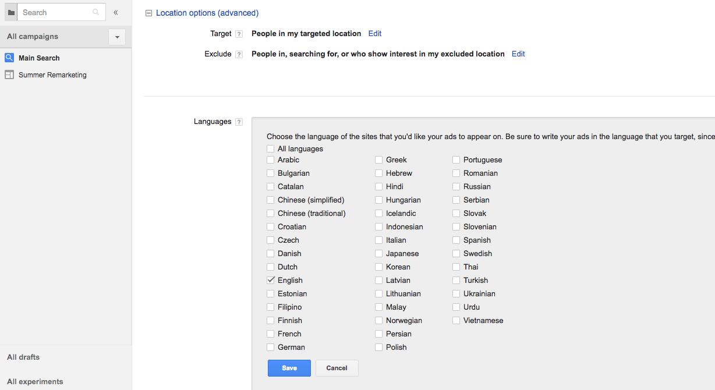 AdWords Language Targeting