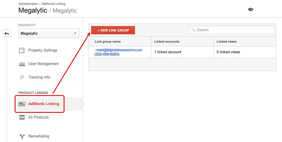 linking google analytics and adwords