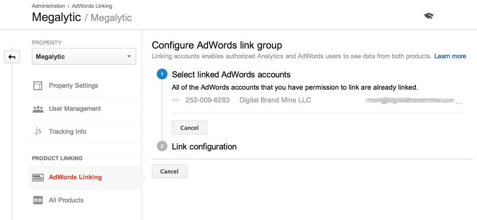 linking google analytics and adwords step 2