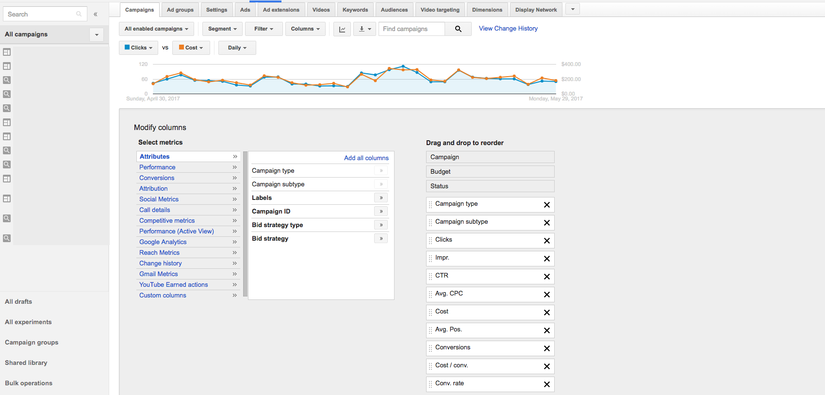 Google AdWords User Interface