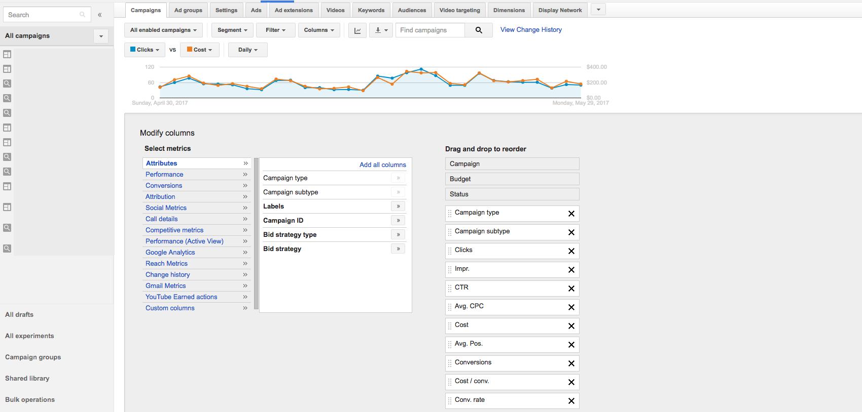Google AdWords User Interface