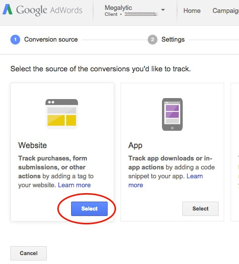 AdWords Conversion Tracking Step #2