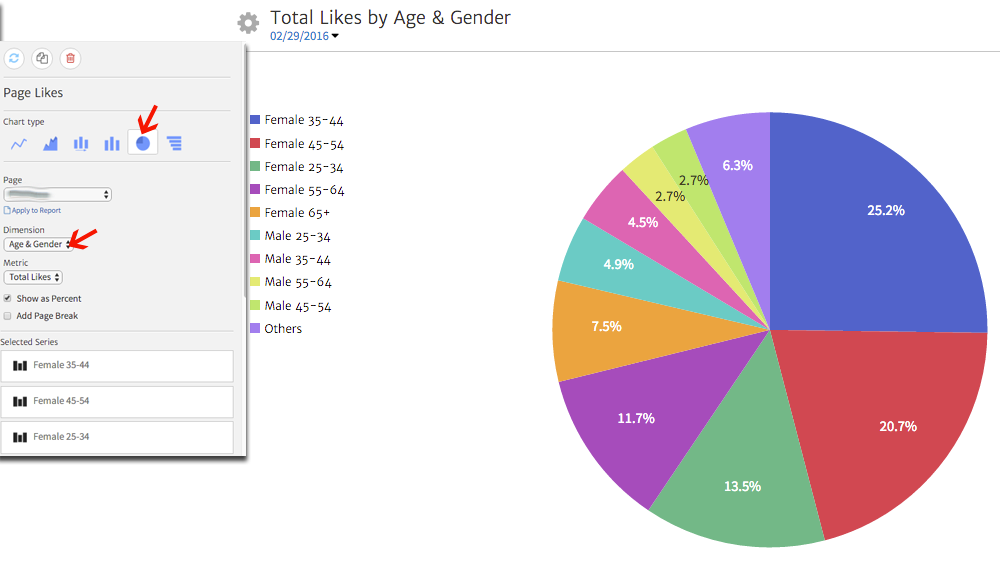 Facebook Page Likes by Age and Gender shown in a Megalytic Widget