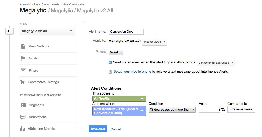creating a google analytics alert - step 3
