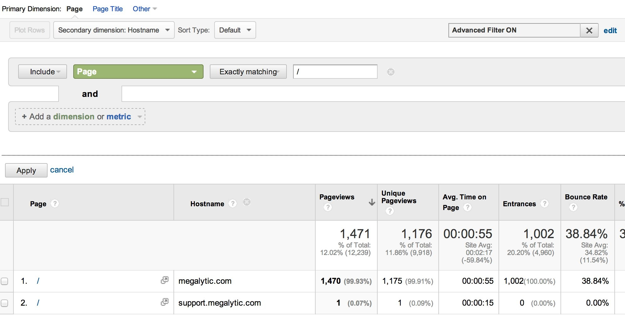 usindg a filter to see single page multiple domains in google analytics
