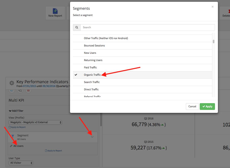 Google Analytics Segments in Megalytic