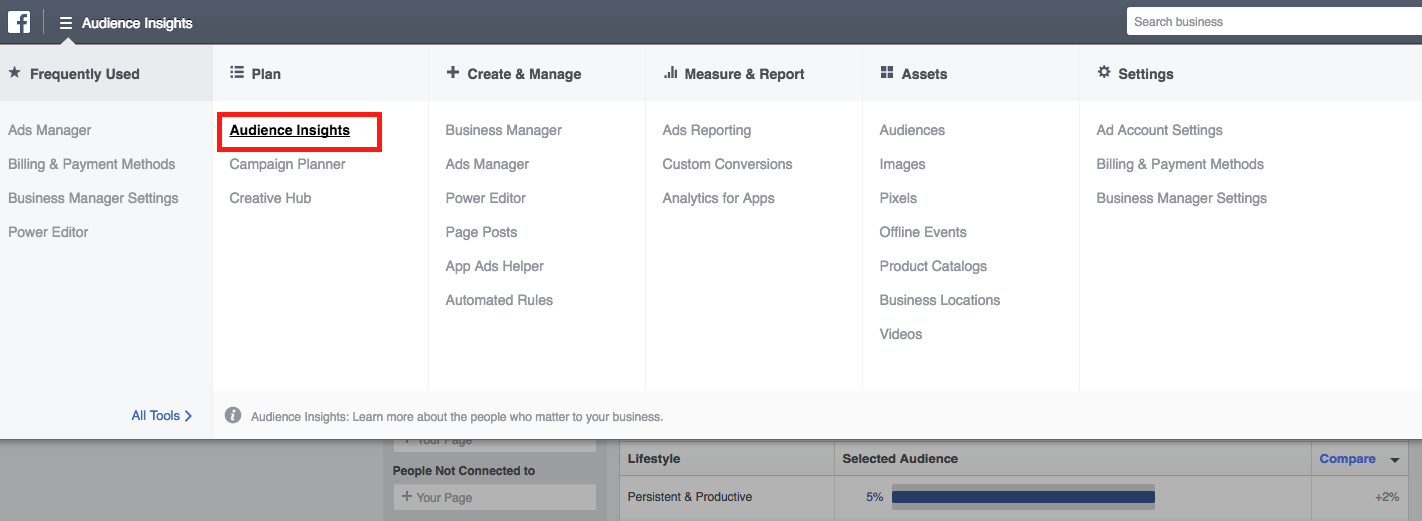 Facebook Audience Insights Navigation