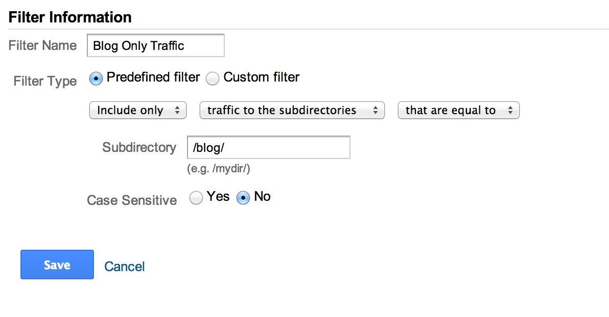 Google Analytics Filter for Blog Only Traffic