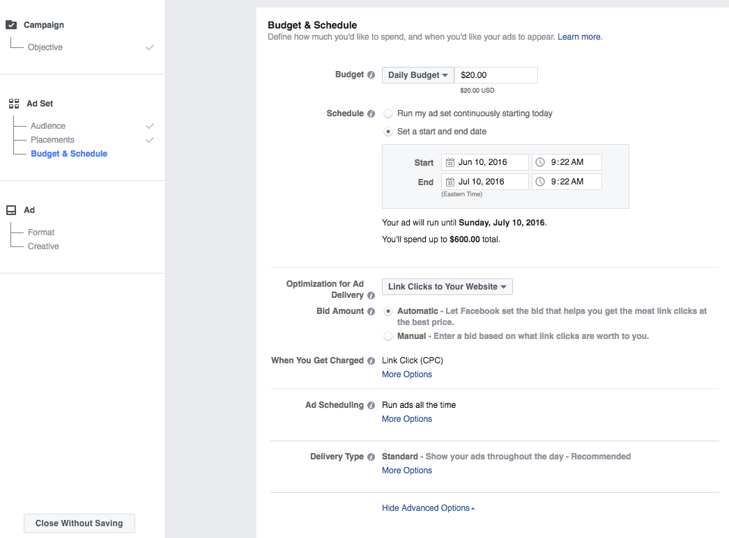 Facebook Ads Manager - Budget Schedule