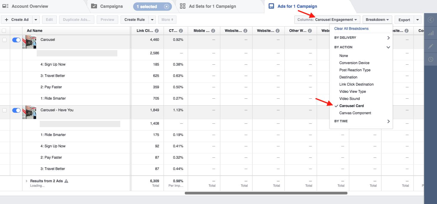 Facebook Carousel Ad Metrics
