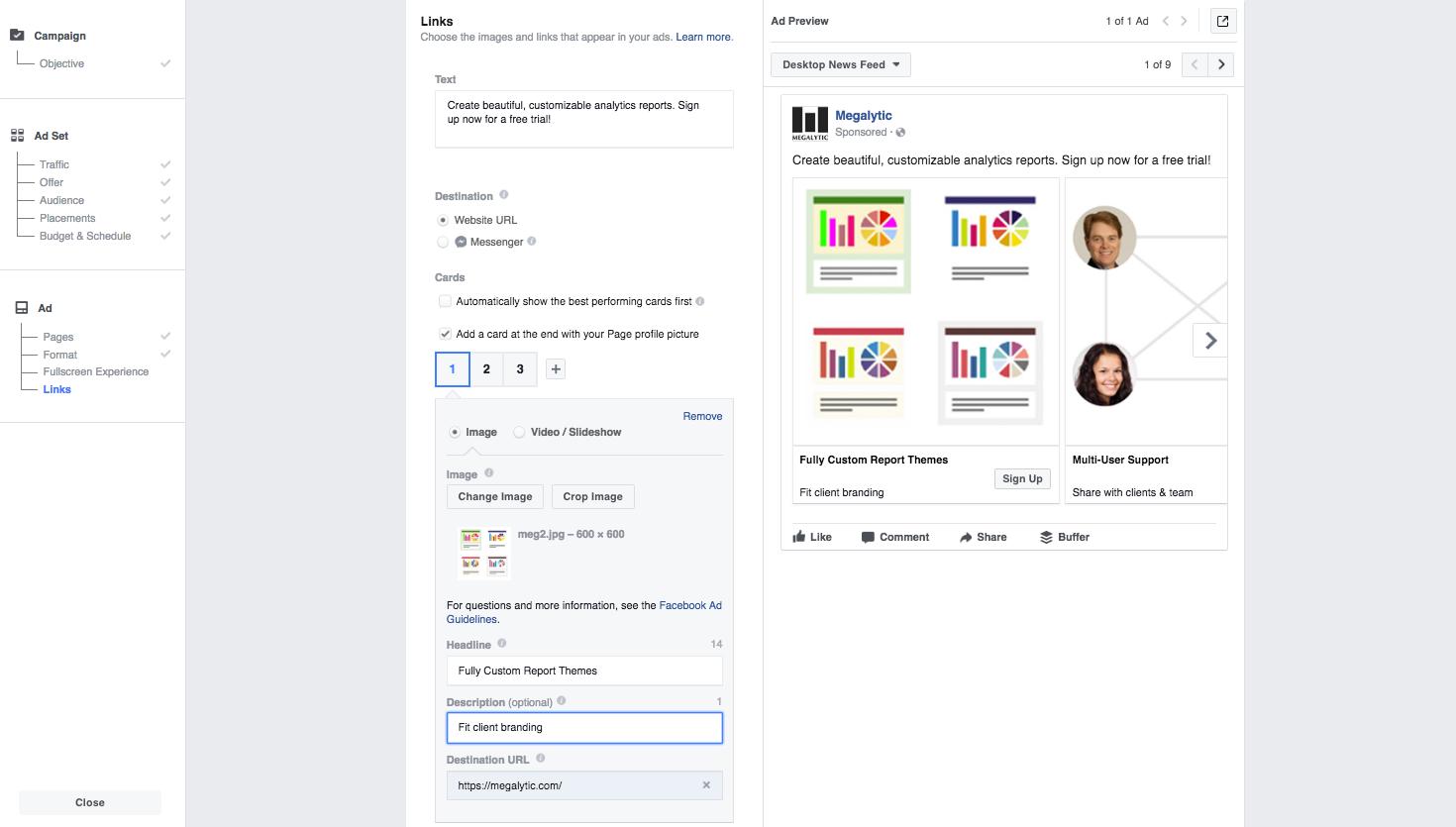 Setup Facebook Carousel Ad - Step 1