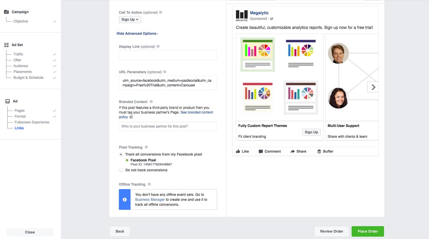 Setup Facebook Carousel Ad - Step 2
