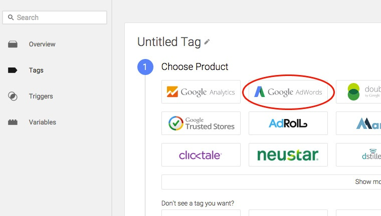 Google Tag Manager - Choose AdWords