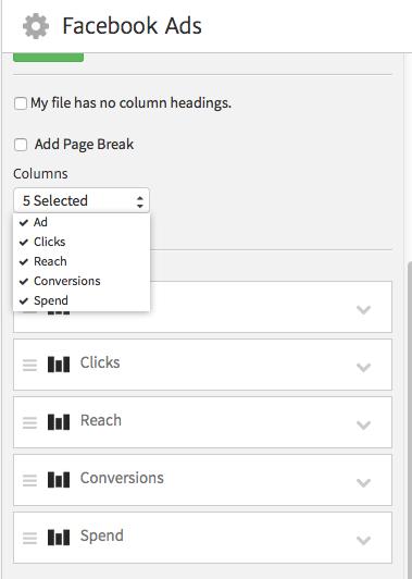 Choosing columns using Megalytic's CSV Widget