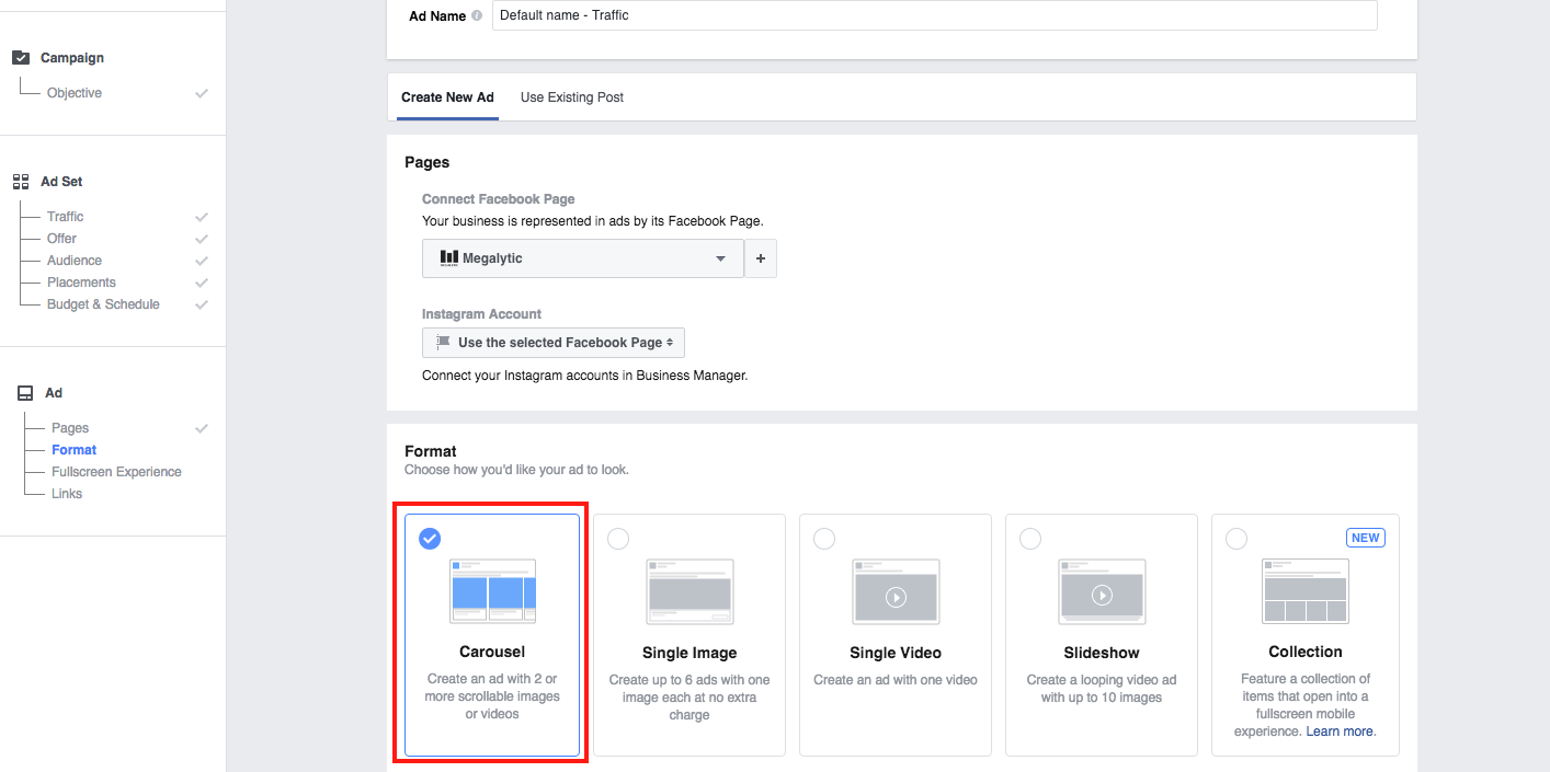 Choose the Format for Facebook Carousel Ads