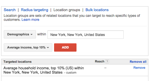 AdWords Choose an Income Group for Targeting