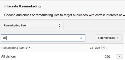 AdWords Remarketing Choose List