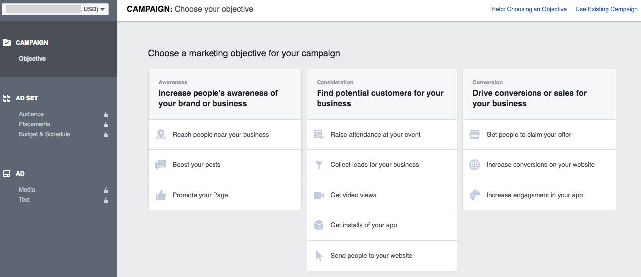 Facebook Ads Manager - Choose Objective