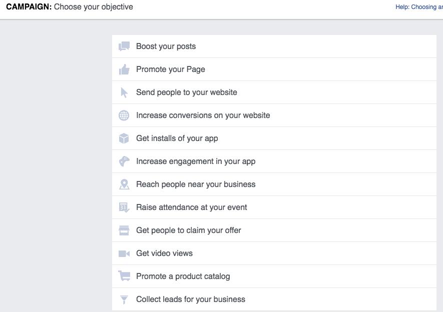 Facebook Ads - Choosing an Objective