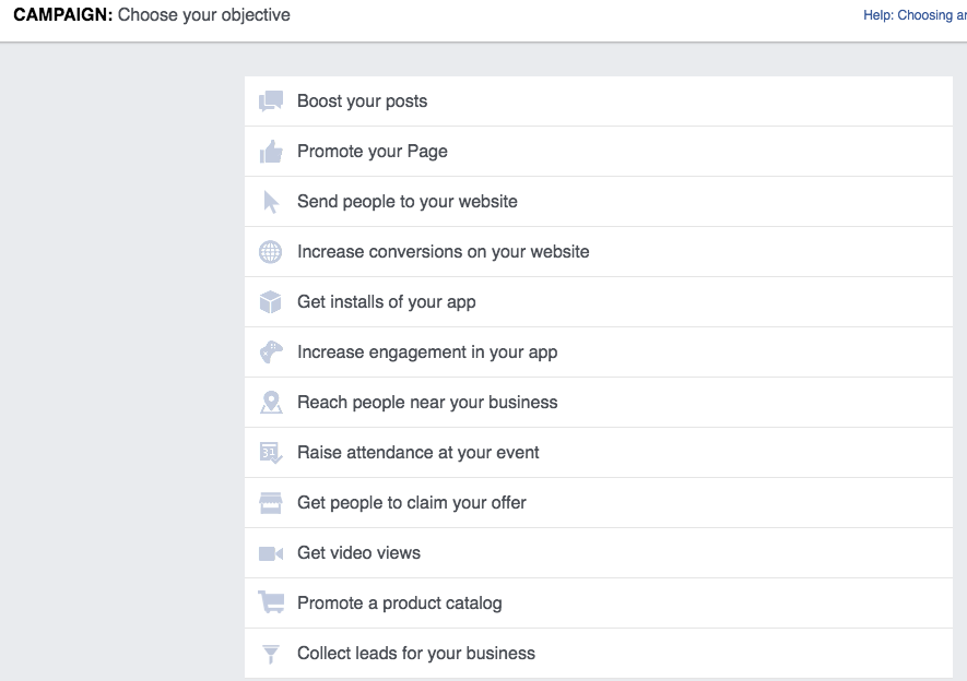 Facebook Ads - Choosing an Objective