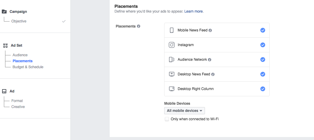 Facebook Ads Manager - Choose Placements