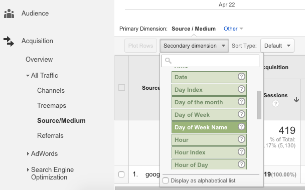 Google Analytics - How to Select 2 Dimensions